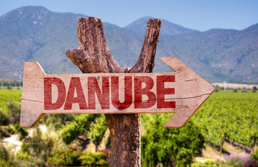 Danube wooden sign with winery background