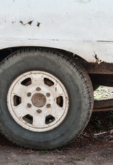 Wheels of old cars, old white.