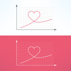 Vector graphic chart with heart icon. Loving and liking raise