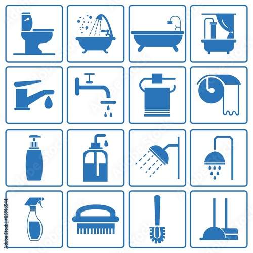 Bathroom Icon Silhouette Blue. Bathroom Icon Silhouette Blue quot  Stock image and royalty free vector