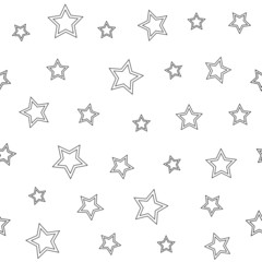 Seamless geometric pattern with stars on a white background