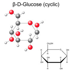 Structural chemical formula and model of beta-D-glucose