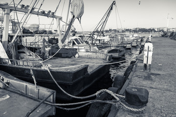 Moored fishing boats with drying nets in Nesebar