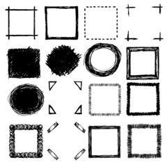 hand-drawn scribble frames and corners
