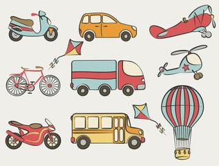 hand-drawn transportation icon set
