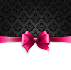 Invitation card with Pink holiday ribbon on vintage background