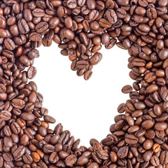 Coffee Beans heart shape on white background for presentation and business