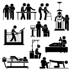 Physio Physiotherapy and Rehabilitation Treatment Vector Illustrations