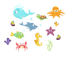 Colorful cartoon marine life