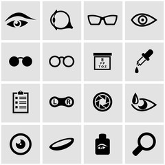 Vector black optometry icon set