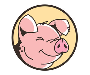 Smiling face of a pig