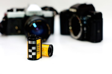 35mm Film rolls and film camera ,Selective focus