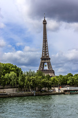 Tour Eiffel (Eiffel tower) from the Seine River. Paris. France.