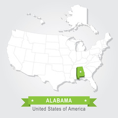 Alabama state. USA administrative map.