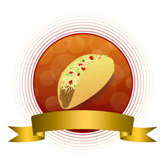 Abstract background food taco red yellow gold circle frame ribbon illustration vector