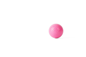pink colored colf ball, isolated on white