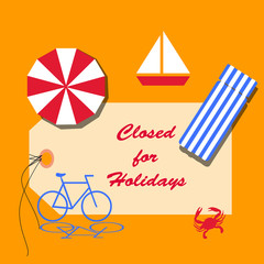 Closed For Holidays - Summer Illustration