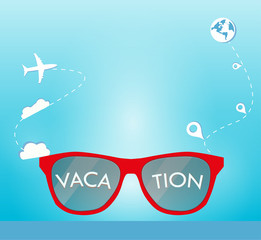 Sun glasses with vacation, clouds and location background