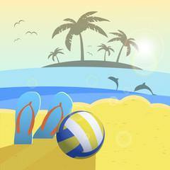 Depicted still life beach volleyball, ball, palms, sea. Vector