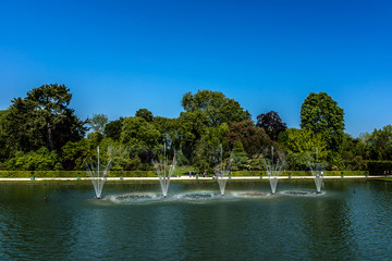 Mirror fountain (1702) in beautiful gardens of Versailles palace