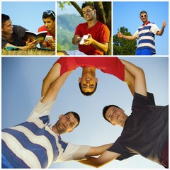 collage happy young friends relaxing