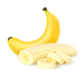Peeled banana over white background