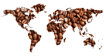 World map with coffee beans isolated on white