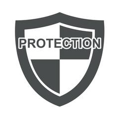 Icono texto PROTECTION en escudo gris