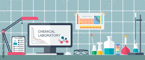Chemical laboratory workplace flat design vector stock image and chemical laboratory workplace flat design vector ccuart Gallery