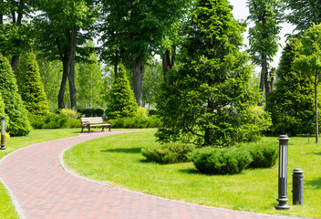 Pavement in the park - fototapety na wymiar
