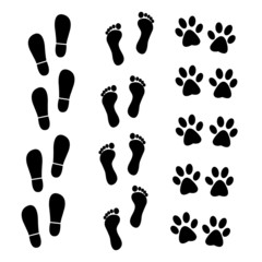 Vector collection of human and animal trace
