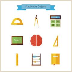 Flat School Maths and Physics Objects Set