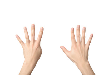hand sign of number nine