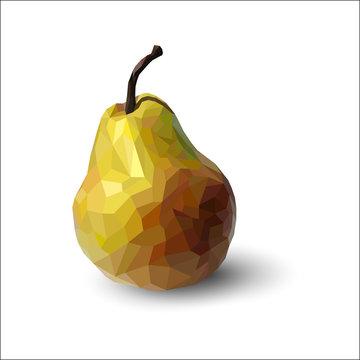 Polygonal multicolored pear, in vector
