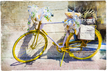 vintage bike decorated with flowers