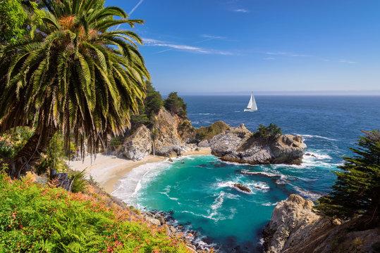 Beautiful beach with palm trees and the white yacht on the horizon.  Julia Pfeiffer beach, Big Sur. California, USA
