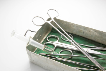 Old set of surgical instrument