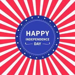 Round label tag icon Star and strip Sunburst background Happy independence day United states of America. 4th of July. Flat design