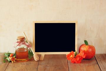 rosh hashanah (jewesh holiday) concept - blackboard