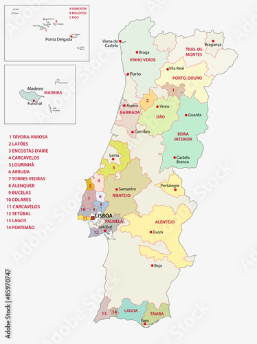 Portugal Wine Regions Map Stock Image And Royaltyfree Vector - Portugal map vector