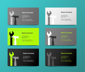 set of gray and green business cards, illustration