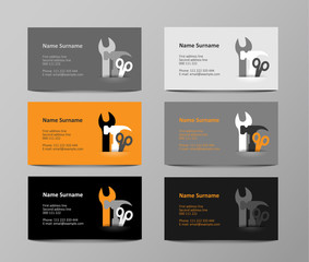 set of gray and orange business cards, illustration