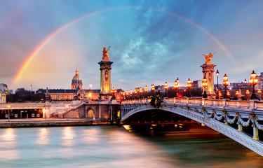 Rainbow over Alexandre III Bridge, Paris, France