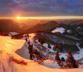 Wall Murals Night blue Nature mountain with sun at winter in Slovakia