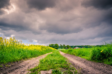 Path with dark clouds
