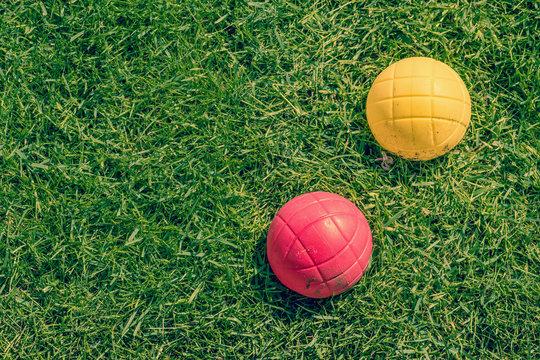 Boccia garden game on the lawn