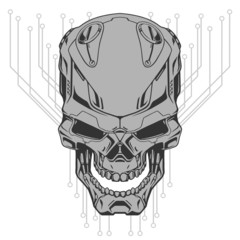 Robot skull illustration
