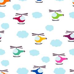 kids seamless pattern: Aircraft and clouds