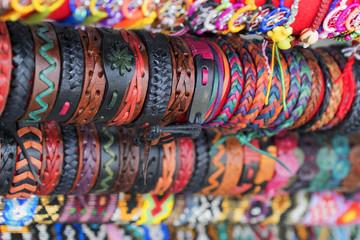 ethnic background leather bracelets