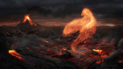 Burning bird phoenix  in the volcanic landscape